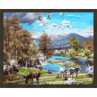 N181 Пейзаж с лошадьми Раскраска картина по номерам на холсте