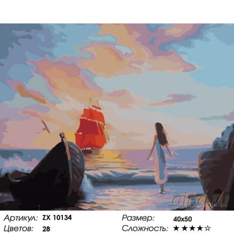 Количество цветов и сложность Ассоль в ожидании встречи Раскраска картина по номерам на холсте ZX 10134
