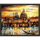 N181 Золотое закат Венеции Раскраска картина по номерам на холсте