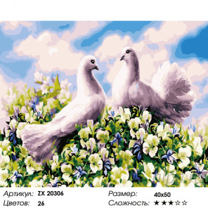 Количество цветов и сложность Влюбленная парочка Раскраска картина по номерам на холсте ZX 20306