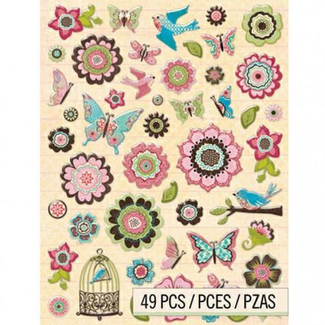 Цветы и бабочки Kelly Palacci Стикеры для скрапбукинга, кардмейкинга K&Company