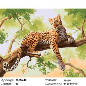 Количество цветов и сложность Леопард на дереве Раскраска картина по номерам на холсте ZX 20646