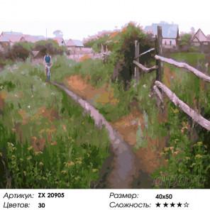 Количество цветов и сложность Тропинка в деревне Раскраска картина по номерам на холсте ZX 20905
