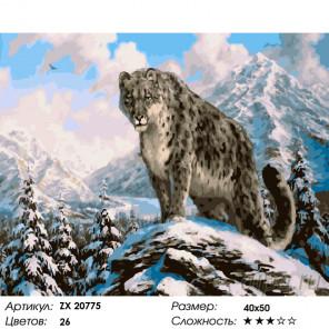 Количество цветов и сложность Снежный хищник Раскраска картина по номерам на холсте ZX 20775