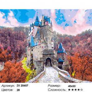Количество цветов и сложность Замок Эльц в Германии Раскраска картина по номерам на холсте ZX 20607