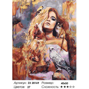 Количество цветов и сложность Богиня животного мира Раскраска картина по номерам на холсте ZX 20169