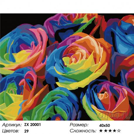 Количество цветов и сложность Радужные розы Раскраска картина по номерам на холсте ZX 20001