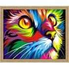 N118 Радужный кот. Ваю Рамдони Раскраска картина по номерам на холсте