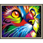 N143 Радужный кот. Ваю Рамдони Раскраска картина по номерам на холсте