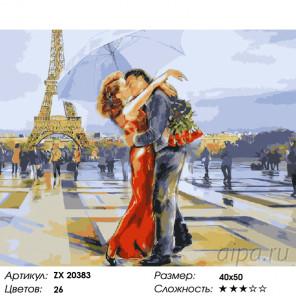 Количество цветов и сложность Влюбленные в Париже Раскраска картина по номерам на холсте ZX 20383