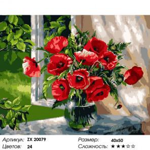 Количество цветов и сложность Маки у окна Раскраска картина по номерам на холсте ZX 20079