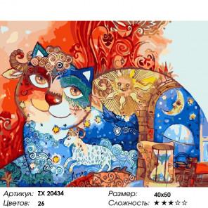 Количество цветов и сложность Сказочный кот Раскраска картина по номерам на холсте ZX 20434