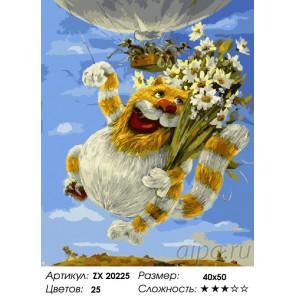 Количество цветов и сложность Коты. Антон Горцевич Раскраска картина по номерам на холсте ZX 20225
