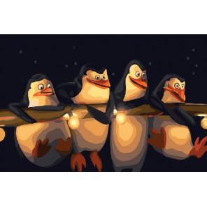 Пингвины Раскраска картина по номерам на холсте