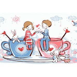 Совместное чаепитие Раскраска картина по номерам на холсте