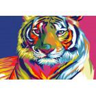 Радужный свирепый тигр Раскраска картина по номерам на холсте