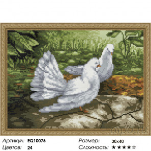 Количество цветов и сложность Голубки Алмазная вышивка мозаика на подрамнике EQ10076