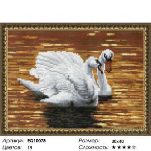 Количество цветов и сложность Лебеди на пруду Алмазная вышивка мозаика на подрамнике EQ10078