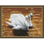 Лебеди на пруду Алмазная вышивка мозаика на подрамнике EQ10078