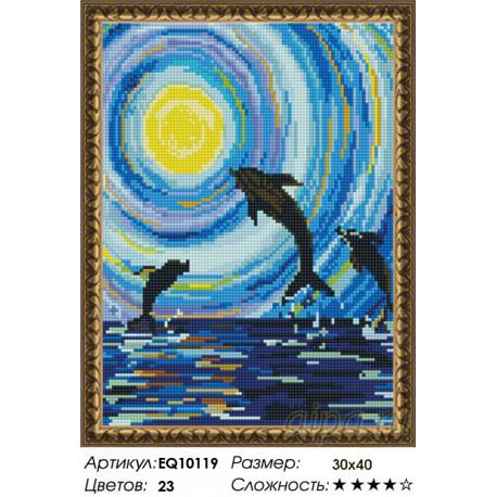 Количество цветов и сложность Танец дельфинов Алмазная вышивка мозаика на подрамнике EQ10119