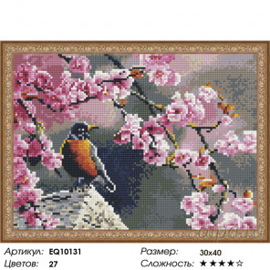 Количество цветов и сложность Птица в цветах Алмазная вышивка мозаика на подрамнике EQ10131