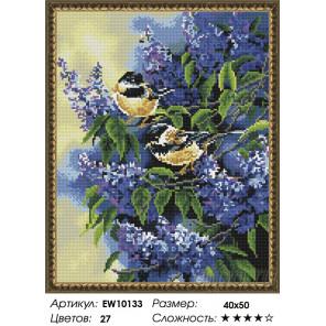 Количесвто цветов и сложность Синички в цветах сирени Алмазная вышивка мозаика на подрамнике EW10133