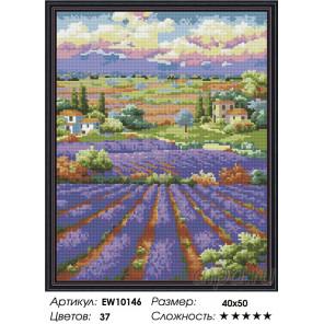 Количесвто цветов и сложность Бескрайняя лаванда Алмазная вышивка мозаика на подрамнике EW10146