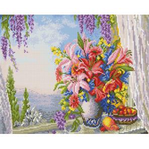 Лилии на окнеАлмазная вышивка мозаика на подрамнике EW10172