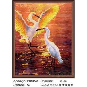 Количество цветов и сложность Журавли на закате Алмазная вышивка мозаика на подрамнике EW10045