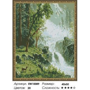 Количество цветов и сложность Лесной водопад Алмазная вышивка мозаика на подрамнике EW10089