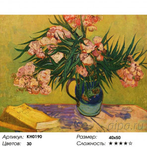 Количество цветов и сложность Натюрморт с олеандром Раскраска картина по номерам на холсте KH0190