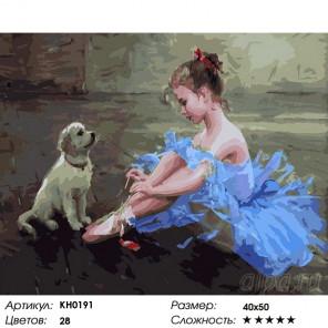 Количество цветов и сложность Маленькая балерина Раскраска картина по номерам на холсте KH0191