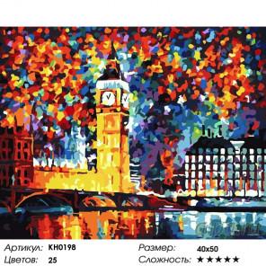 Количество цветов и сложность Лондон. Биг Бен Раскраска картина по номерам на холсте KH0198
