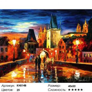 Количество цветов и сложность Ночь в Праге Раскраска картина по номерам на холсте KH0148