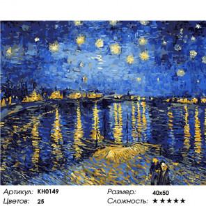 Количество цветов и сложность Ночь над Роной Раскраска картина по номерам на холсте KH0149