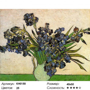 Количество цветов и сложность Ирисы в вазе Раскраска картина по номерам на холсте KH0150