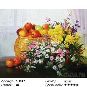 Количество цветов и сложность Натюрморт с яблоками Раскраска картина по номерам на холсте KH0159
