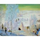 Лыжники Раскраска картина по номерам на холсте KH0165