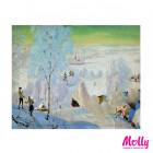 Картинка с коробки Лыжники Раскраска картина по номерам на холсте KH0165
