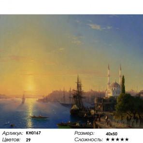 Количество цветов и сложность Вид Константинополя и Босфора Раскраска картина по номерам на холсте KH0167