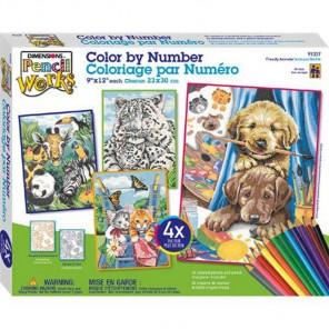 Животные 91337 Набор раскрасок по номерам карандашами Dimensions