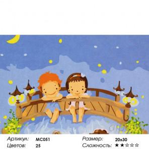 Количество цветов и сложность Ночью на мосточке Раскраска картина по номерам на холсте MC051
