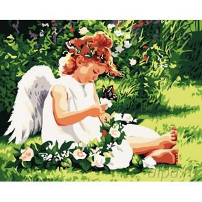 Ангел на лугу Раскраска картина по номерам на холсте MG310