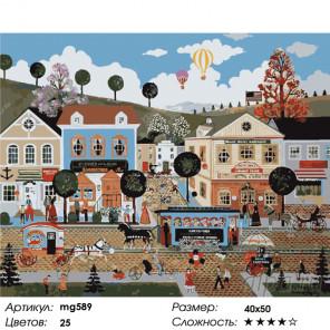 Количество цветов и сложность  Шумный городок Раскраска картина по номерам на холсте MG589