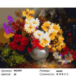 Количество цветов и сложность Пушистые цветы Раскраска картина по номерам на холсте MG294