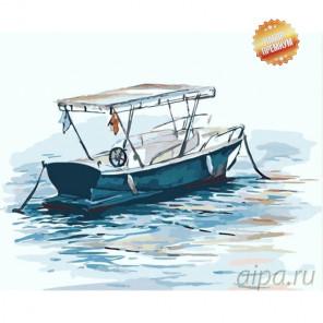 Прогулочная  лодка Раскраска картина по номерам на холсте