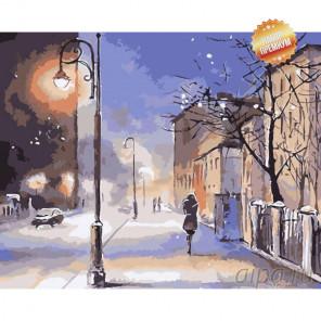 Морозный вечер Раскраска картина по номерам на холсте