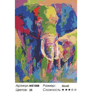Количество цветов и сложность  Разноцветный слон Раскраска картина по номерам на холсте ME1008
