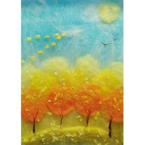 Осенний полёт Картина из шерсти Toyzy TZ-P018