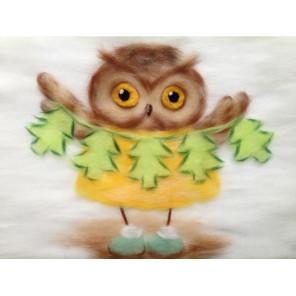 Сова с ёлочками Картина из шерсти Toyzy TZ-P029